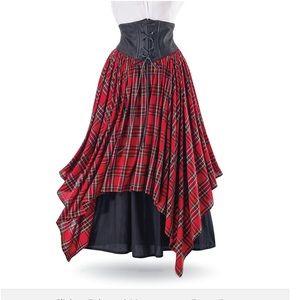 Dresses & Skirts - Tartan plaid cross-lace up skirt